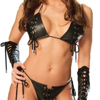 Leather Lace Up Bra And G-stri