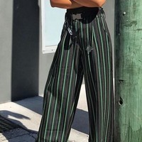 Black Striped Pockets Buttons High Waisted Trendy Casual Wide Leg Long Pants