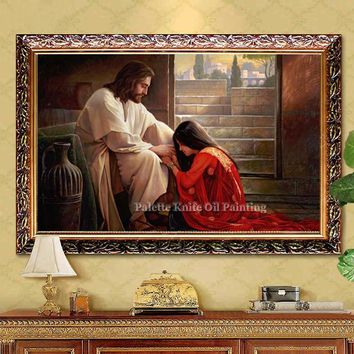 Jesus Christ Jesus Canvas Posters and Prints Wall Art Pictures for living room Home Decor cuadros decoracion Oil painting 34