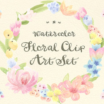 Floral Watercolor ClipArts Scrapbook Digital File Download Wedding Invitation Wreath Pink Purple Leaves Leaves Flowers Printable Blue yellow