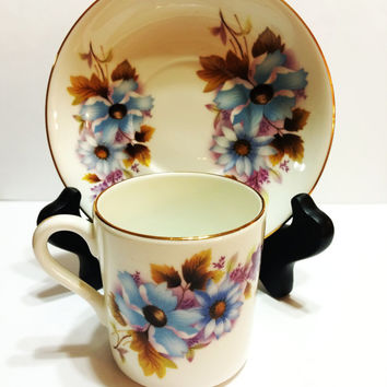 Vintage, Bone China Demitasse Set, Royal Grafton, Blue Flowers, Gold, 1950s, Bridal Shower, Wedding, Mother's Day Gift