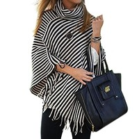 Scarf Stripes Tassels Sweater [11275922055]