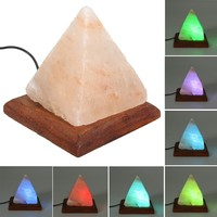 USB Pyramid Air Purifier Energize Ionized Rock Salt LED RGB Night Light Table Lamp