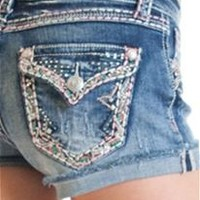 Grace in LA Jean Shorts with Color Trim Pockets JHW-5859