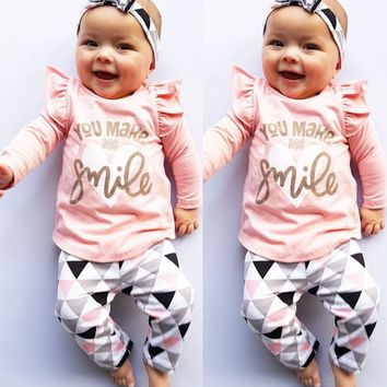 USA Fashion Infant Baby Girls Long Sleeve T-Shirt Leggings Pants Outfit Clothes