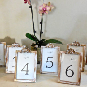 White Shabby Chic Wedding Table Numbers/Signs Photo Frames/Vintage Style/Wedding Decor/Props/Paint Distressed/Set Nine