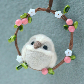Needle felted owl on wreath ornament, handmade owl ornament / charm, pink berries with flower wreath, handbag charm, gift under 20