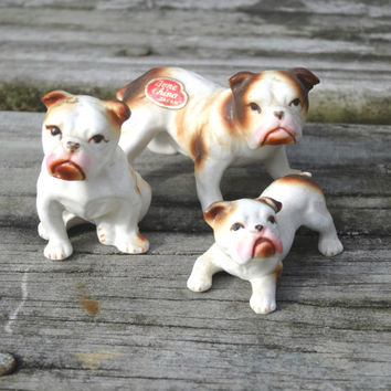 Vintage Mini Bulldog Dog Family 3 Figurines Bone China Made In Japan Miniature Animal 1960s Mid-Century
