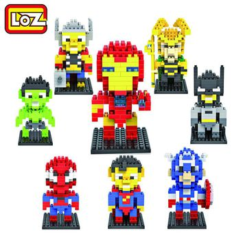 LOZ Super Hero Spiderman superman batman Iron Man Diamond Building Blocks Figure Toys Children Gift Free Shipping