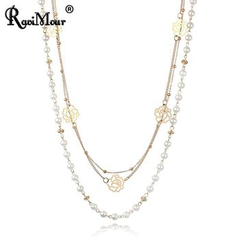 RAVIMOUR Multilayer Imitation Pearl Jewelry Long Necklace for Women Fashion Rose Flower Gold Color Chain Statement Collar Choker