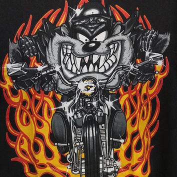 15% OFF Vintage 1997 TAZMANIA Taz's Motorcycle Animation Cartoon Looney Tunes T Shirt Black Color Size Xl