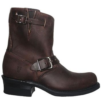 Frye Boot Engineer 8R - Gaucho Leather Pull-On Short Engineer Boot