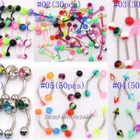Wholesale mix lot 316L UV lip tongue eyebrow piercing bar barbell body jewelry