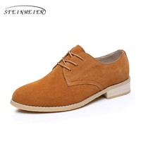 Cow suede oxford shoes for woman handmade flats brown vintage big US 10 British style oxfords shoes for women fur