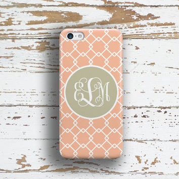 Preppy Iphone 6 + case, Pretty Iphone 5c case, Cute iPhone 4 case, Womens Fashion iPhone 5 case, Gift for women, Peach coral gray (9786)