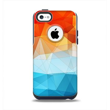 The Vector Abstract Shaped Blue-Orange Overlay Apple iPhone 5c Otterbox Commuter Case Skin Set