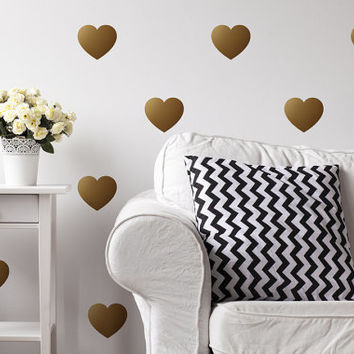 Hearts Wall Decals, Wall Stickers, Heart Wall Stickers, Hearts Pattern, Heart Vinyl Decal, Nursery Decal,Pattern Wall, Girl Decals,Set of 40