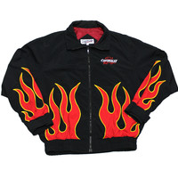 Vintage 90s Chevrolet Racing Flames Jacket Made in USA Mens Size XL