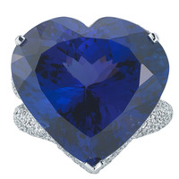 Dazzling GIA Cert Tanzanite Diamond Heart Shaped Ring