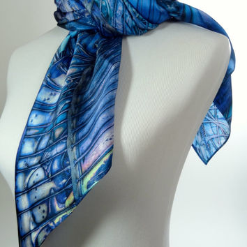 "Silk Satin Scarf. Fractal ""Sea Forms"" Design. Hair Scarf. 36""x36"" square scarf. Abstract Scarf. Luxury gift for her."
