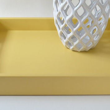 Golden Yellow Lacquered 14 x 18 Serving Tray, Coffee Table Tray, Yellow Home Decor, Ottoman Tray