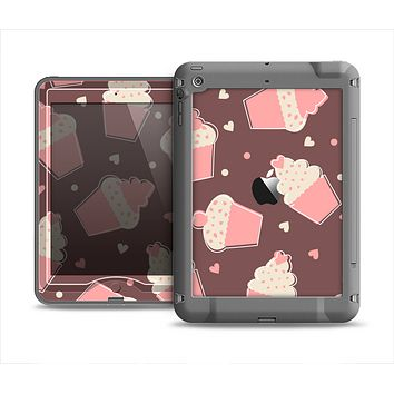 The Pink Outlined Cupcake Pattern Apple iPad Mini LifeProof Nuud Case Skin Set