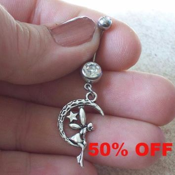 Fairy on a Moon Belly Ring Body Jewelry Navel Ring Black Friday Cyber Monday
