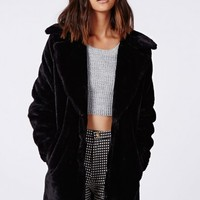 Missguided - Ana Faux Fur Jacket Black
