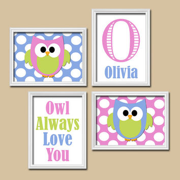OWL Theme Monogram Child Name Pink Blue Green Choose Any Quote Nursery Print Artwork Set of 4 Prints Girl WALL ART Picture Baby Decor