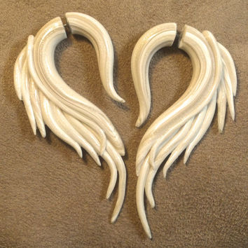 "Ivory Angel Wings ""Fakers"" Faux Gauged Earrings"