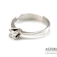 Solitaire ring - Small ring - Promise ring - Thin ring - Girlfriend ring - Cubic zirconia ring - Cz ring