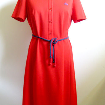 Lacoste Vintage 1970s Red Dress Sporty Short Sleeve Dress Size 12