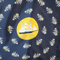 Vintage Silk Scarf Ships Boats Nautical 1960s, Head Neck Scarf,  26 inches, Harvale & Co. Made in Italy