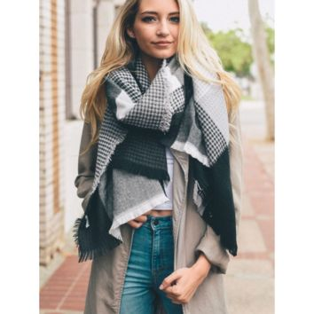 Soft Black & Gray Plaid Waffle Style Knit Blanket Scarf