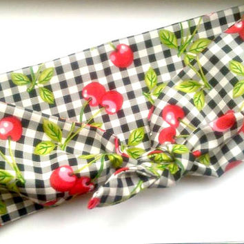 Pin Up Head/Hair Wrap, Bandana Plaid and Cherries