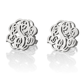 Monogram Personalized Stud Earrings - Sterling Silver Personalized Initial Earrings