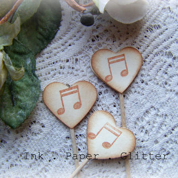 Heart Cupcake Topper - Music Note - Vintage Inspired - Wedding - Bridal Shower - Decoration - Food Pick - Set of 15