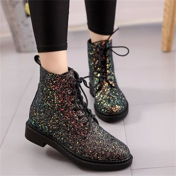 Designers Brand Women Ankle Boots Heels Female Shoes Woman Autumn Glitter Lace up Boot