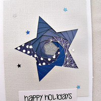 handmade iris fold Christmas card – Happy Holidays star