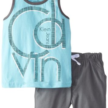 Calvin Klein Baby Boys' Tank Top with Gray Shorts, Blue, 24 Months