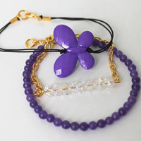 3 layered friendship bracelet set with purple butterfly