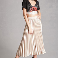 Satin Accordion-Pleated Skirt