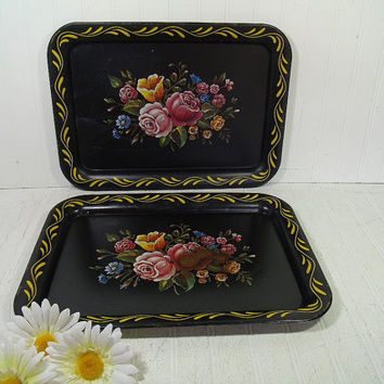 Vintage Hand Painted Look Multicolor Flowers Litho on Black Enamel Metal Trays Set of 2 - Shabby Chic BoHo Bistro Display Floral Bouquet Duo