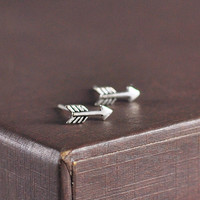 Tiny Arrow Earrings Sterling Silver Arrow Stud Earrings Mini Antique Silver Arrow Studs Cute Earring Studs Simple Everyday Jewelry