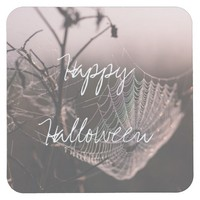 Halloween Cobweb with Dried Twigs Square Paper Coaster