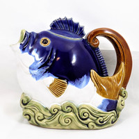 Ceramic Fish Teapot, Majolica, Fish in Waves, Vintage Teapot