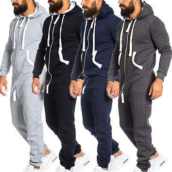 2019 Casual Tracksuit Jumpsuit Mens Overalls Long Sleeve Sweatshirt Hoodies Casual Long Pants Romper For Male Overalls Clothing