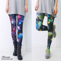 Women spandex Aurora space galaxy graphic leggings pants shorts tights S-L 24-30