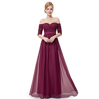 Bridesmaid Dresses Half Sleeve Long Red Prom  2016 New Style Fashion Women Wedding Party EP08411