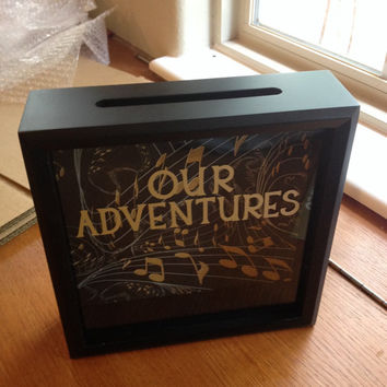 OUR ADVENTURES Ticket Stub, Shadow Box, Personalized Gifts, Teen Gifts, Ticket Holder Box, Anniversary Gift, Wedding Gift, Admit One